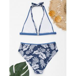 Flower Pineapple Print Halter Bikini Set -