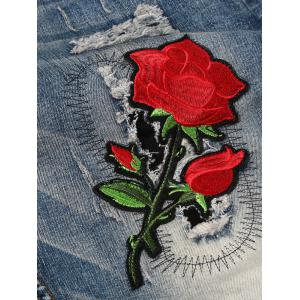 Rose Graphic Embroidered Bleached Ripped Jeans -