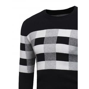Color Block Plaid Pullover Sweater -