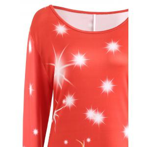 Plus Size Christmas Santa Printed Long Sleeve T-shirt Dress -