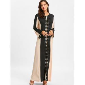 Color Block Lace Insert Arabic Maxi Dress -