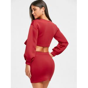 Mini Skirt and Cropped Long Sleeve Top -