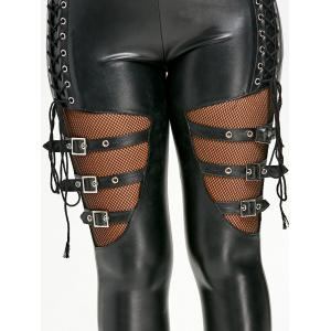 Lace Up Fishnet Insert PU Leather Pants -