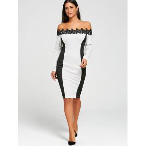 Long Sleeve Stereo Floral Bodycon Off The Shoulder Dress -