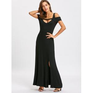 Cold Shoudler High Split Maxi Dress -