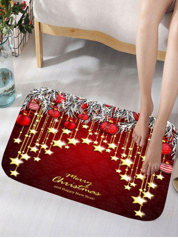 Christmas Hanging Ball Star Print Nonslip Flannel Bath Rug