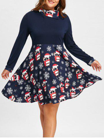 Outfit Christmas Owl Snowflake Plus Size Long Sleeve Dress