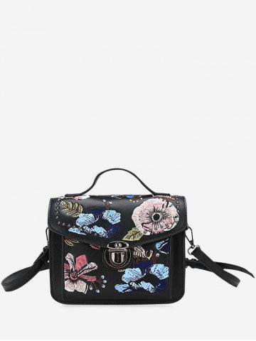 Shop Studs Flowers Embroidery Crossbody Bag