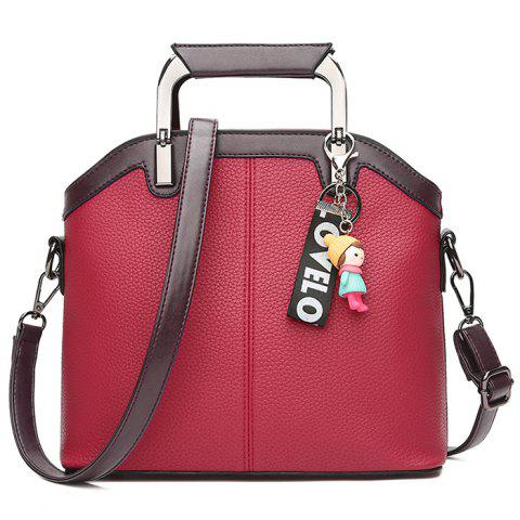 Trendy Letter Cartoon Pendant Contrasting Color Crossbody Bag