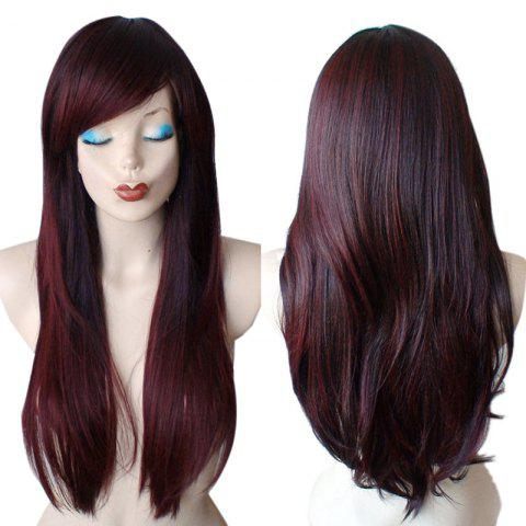 Trendy Long Inclined Bang Colormix Straight Synthetic Wig
