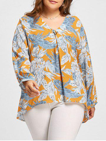 Cheap Leaf Print Plus Size V-neck High Low Blouse