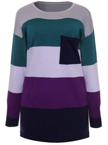 Purple M Color Block Pocket Striped Sweater | RoseGal.com