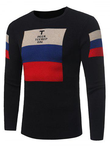 New Color Block Graphic Print Pullover Sweater