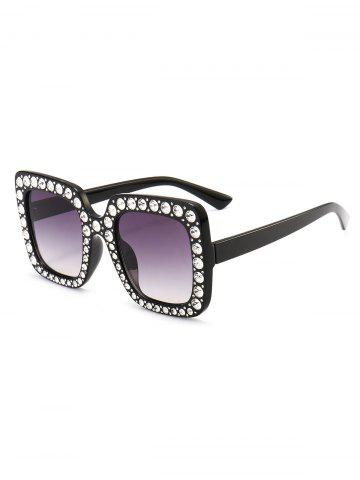 Best Vintage Rhinestone Embellished Oversized Square Sunglasses