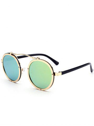 Fashion Vintage Crossbar Embellished Round Sunglasses