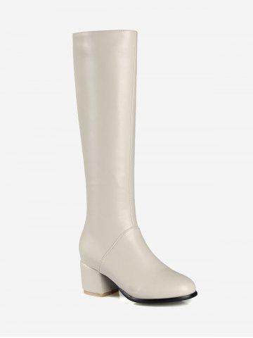 Faux Leather Chunky Heel Knee High Boots