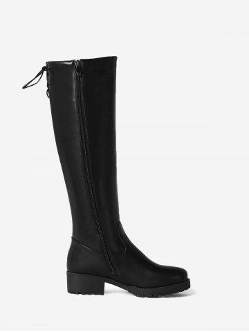 Lace Up Back Chunky Heel Mid-calf Boots