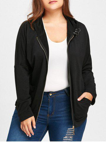 Online Hooded Ring Embellished Plus Size Jacket