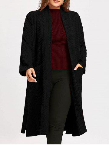 Best Plus Size Jacquard Slit Maxi Collarless Coat