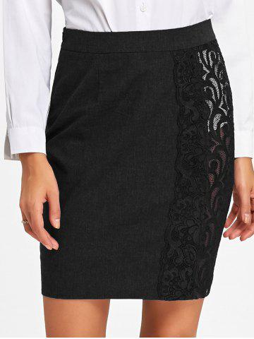 Sale High Waist Slim Fit Lace Trim Skirt