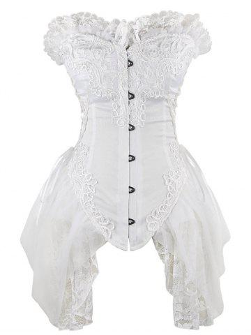 Buy Lace Trim Asymmetric Waist Training Corset