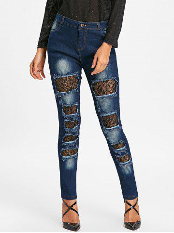 Shops Ripped Lace Insert Denim Jeans