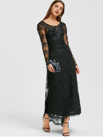 Tiny Floral Sheer Lace Dip Hem Maxi Dress