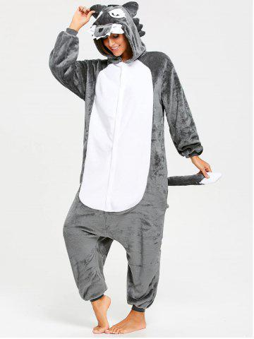 Chic Onesie Wolf Fleece Jumpsuit Sleepwear