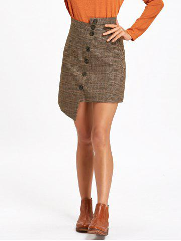 Fancy Asymmetrical Plaid Button Down Skirt