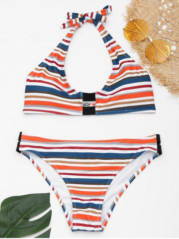 Buy Halter Striped Bikini with Padded Cups