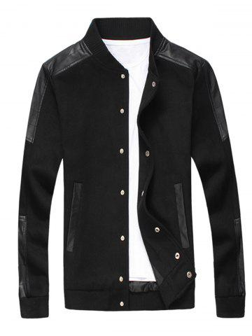 Faux Leather Panel Snap Button Wool Blend Jacket