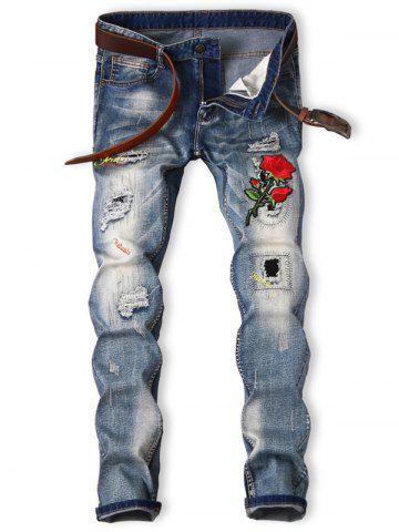 Cheap Rose Graphic Embroidered Bleached Ripped Jeans