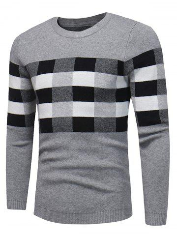 Color Block Plaid Pullover Sweater