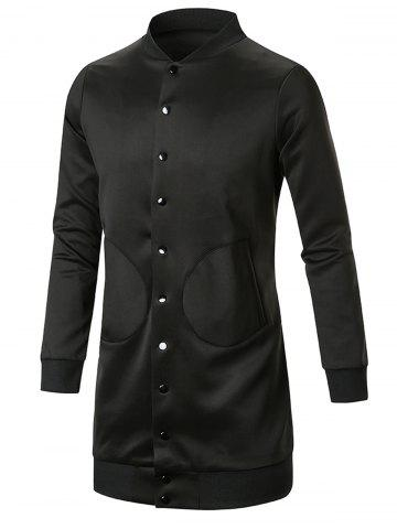 Trendy Single Breasted Slot Pocket Stand Collar Coat