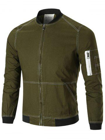 Stitching Arm Pocket Zip Up Jacket - GREEN - 2XL