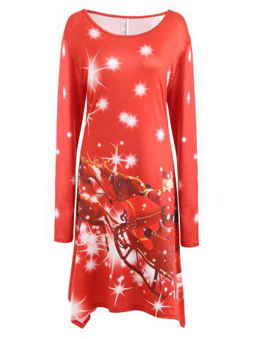 Best Plus Size Christmas Santa Printed Long Sleeve T-shirt Dress