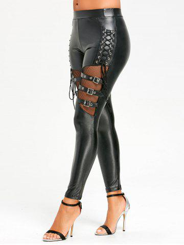Shop Lace Up Fishnet Insert PU Leather Pants