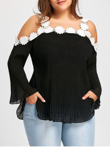 Trendy Lace Flower Panel Plus Size Crinkle Chiffon Blouse