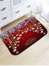 Christmas Hanging Ball Star Print Nonslip Flannel Bath Rug -