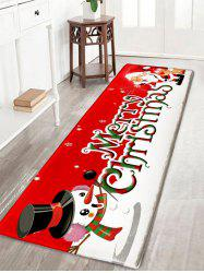 Christmas Snowman and Santa Claus Print Flannel Nonslip Bath Rug - Red - W16 Inch * L47 Inch