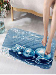 Merry Christmas Balls Print Skidproof Flannel Bath Rug - Blue - W16 Inch * L24 Inch