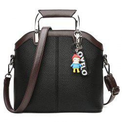 Letter Cartoon Pendant Contrasting Color Crossbody Bag -