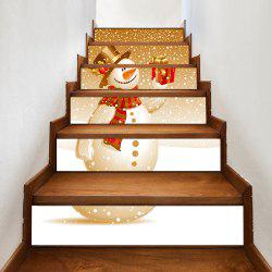 Snowy Christmas Snowman Pattern Decorative Stair Stickers