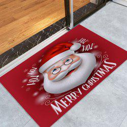 Santa Claus Print Coral Fleece Nonslip Christmas Bath Mat