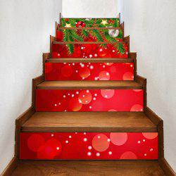 Christmas Balls Pine Pattern Decorative Stair Stickers - 100*18cm*6pcs