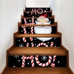 Cartoon Santa Claus Printed Home Stairs Stickers 6pcs