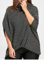 Plus Size Striped Asymmetrical Poncho Sweater -