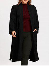 Plus Size Jacquard Slit Maxi Collarless Coat -