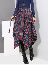 Asymmetrical Plaid Skirt with Belt -
