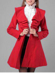 Felt Flounce Trim Dress Coat -